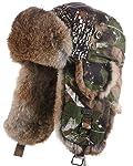 frr Camouflage Trapper Hat with Natural Brown Rabbit Fur for Men