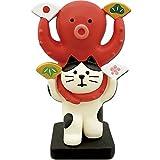 デコレ(DECOLE) 猫と蛸 めでた踊り 白猫 45×30×h70mm concombre ZSG-92249