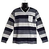 大きいサイズ CREATION CUBEE マルチボーダープリント Vネック Tシャツ 8402-200L (4L, 06.マルチボーダーオートミール)