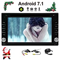 Wireless Backup Camera Android 7.1 OS Octa Core 6.2 Inch Double DIN 2DIN Car Stereo with GPS Navigation Bluetooth Capacitive Touch Screen WIFI 3G/4G AM/FM RDS Radio HD 1080P Video DVD Player SWC EQ USB SD Multi Languages LED Color Mirror Link
