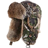 frr Camouflage Trapper Hat with Natural Brown Rabbit Fur for Men