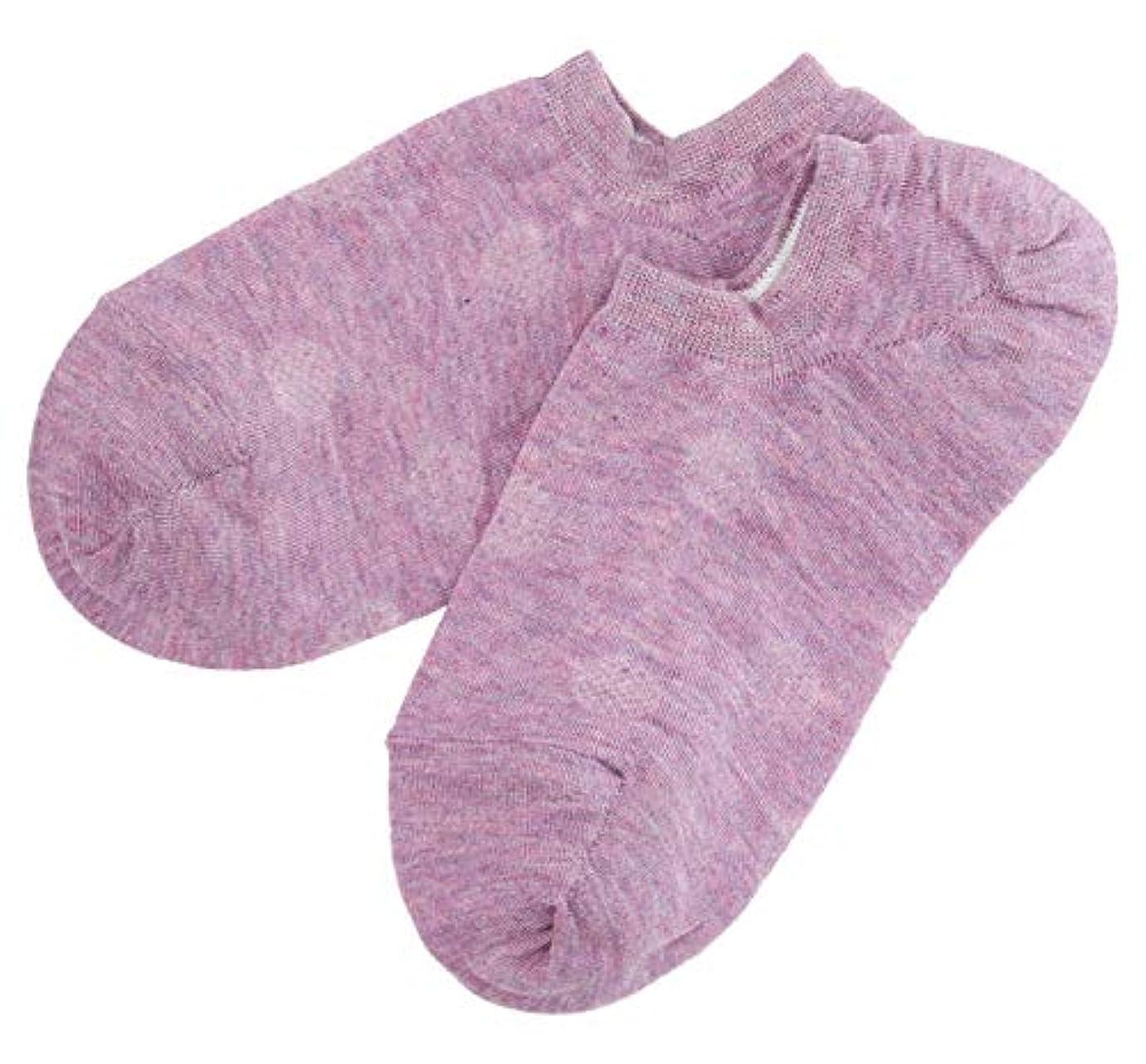 タイヤセンサー深く温むすび かかとケア靴下 【足うら美人カバーソックスタイプ 女性用 22~24cm パープル】 ひび割れ ケア 夏用