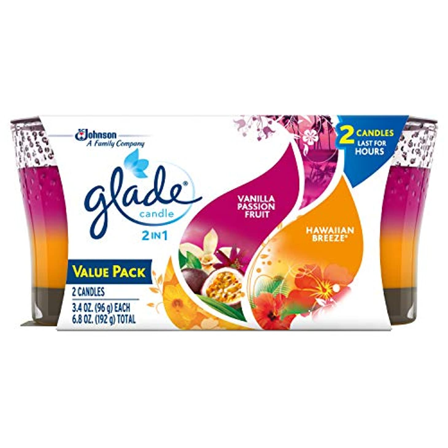Glade 2in1 Jar Candle Air Freshener, Hawaiian Breeze and Vanilla Passion Fruit, 2 count, 6.8 Ounce by Glade