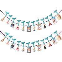 satinior 2セットマーメイドBaby Photoバナー1 – 12月のバナー最初誕生日パーティー装飾