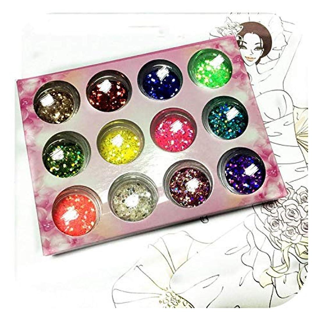 ランダムに12色/セットを混合、ネイルアート用六角グリッターパウダーネイルアートのヒント,12 colors per set