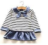 KANARIA 女の子 子供 用 / ワンピース チュニック / ボーダー セーラー / 100 110 120 130 140 cm センチ / ブルー レッド (100, ブルー)