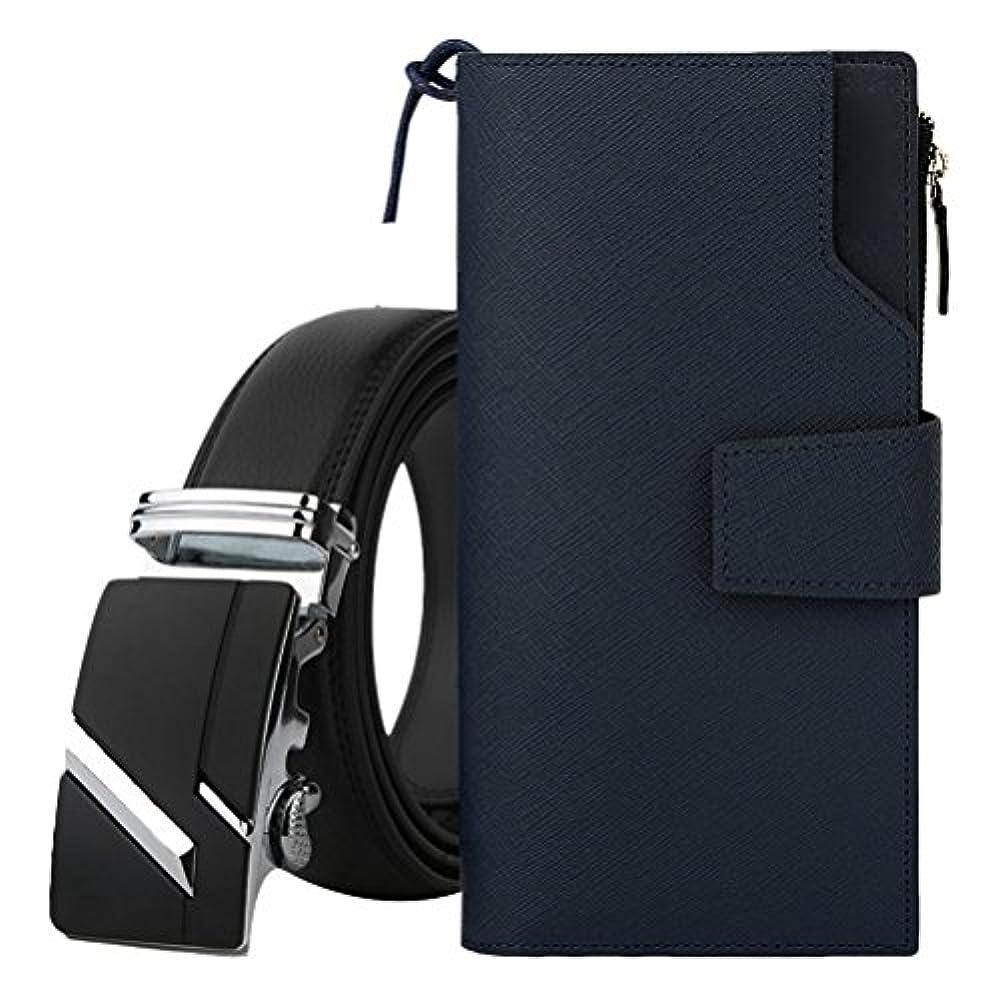 の前で嬉しいです城Zhhlaixing 財布 2PCS Men's Luxury Accessory Cowhide Leather Long Money Organizer Handbag Fashion Leather Belt