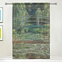 Sheer Curtains Monet 's The Japanese Footbridge and Water Lily 55x84