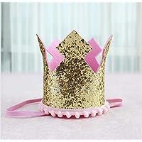 HuaQingPiJu-JP シャイニーフラワークラウン誕生日ハットパーティー用品装飾(レースクラウンキャップ)