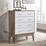 NOBU Tallboy 4 Chest of Drawers Dresser Bedroom Storage Scandinavian Oak Furniture