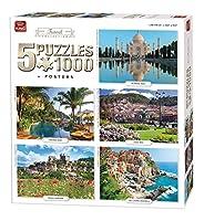 King 5208 Travel Collection 5 in 1ジグソーパズル - 1000 x 5ピースパズル、68 x 49 cm、ポスター付き