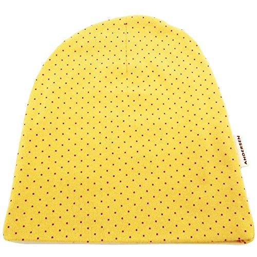 ハッピーハット キッズ 帽子 ニット帽 小さいサイズ ドット柄ニットワッチ マスタード kids-222-04