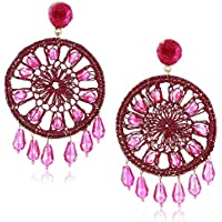 Panacea Women's Fuchsia Circle Crystal Drop Earrings, One Size