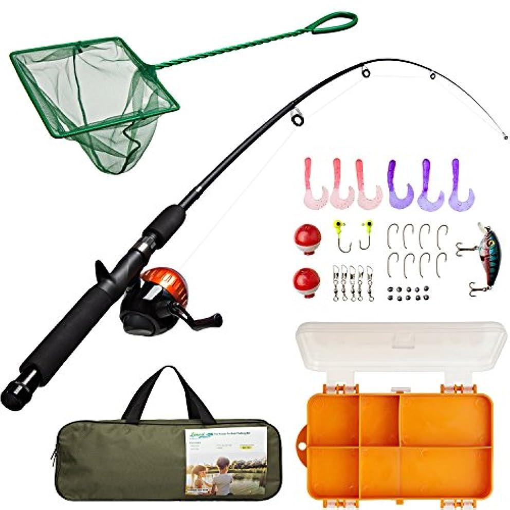 体レーザディプロマキッズ釣りロッドコンボタックルボックスセット、Minnow Net、旅行バッグとスターターガイド(47ピース)