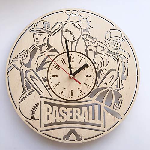Baseball野球 木製掛け時計ー完璧で美しく作られたー現代アートで自宅を飾ろうー彼と彼女にユニークなギフトーサイズ12インチ(30 ㎝)