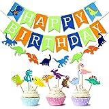 watinc 32個恐竜Happy誕生日バナー装飾パーティーSupplies & Favors DinoジャングルJurassicガーランドとトッパー