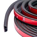 TideMC 車用ドアモール 風切り音 防止テープ ウェザーストリップ 防音 車 ドア フード リアハッチ用 静音 防尘 2枚分 合計10M B型(黒)