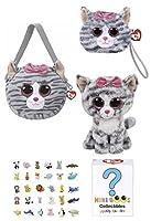 動物TYビーニーBoos赤ちゃんギフトセット–Kiki Cat Purse、リストレット、ミニBoo Mysteryボックス、regular-sized ( 15.24CM )ビーニーBoo Plush、キーチェーンクリップ& Erasers–For Girls