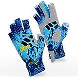 KastKing Sol Armis Fingerless Fishing Gloves - SPF 50 Sun Gloves for Rowing Kayaking Hiking Running Cycling Driving - Outdoor Fingerless Gloves for Men & Women - Breathable Spandex Fabric S-XL