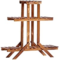 屋内と屋外の炭化カラープラントフラワースタンドプラントスタンド腐食防止木製フロアタイプマルチレイヤー対称フラワースタンド2サイズ (サイズ さいず : 85x26x86cm)