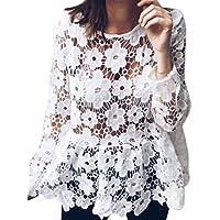SMTSMT Women Shirt, Fashion Womens Summer Long Sleeve Lace Perspective Lady T-Shirt Tops Blouse