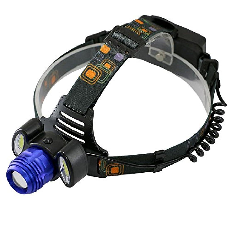 キャリア論理モロニック1000LM LED充電式ヘッドランプ、4つのモード超明るいヘッドライト、防水、懐中電灯トーチT6キャンプ用の2COBサイクリング釣り(1PCS) HJKL (Color : Blue)