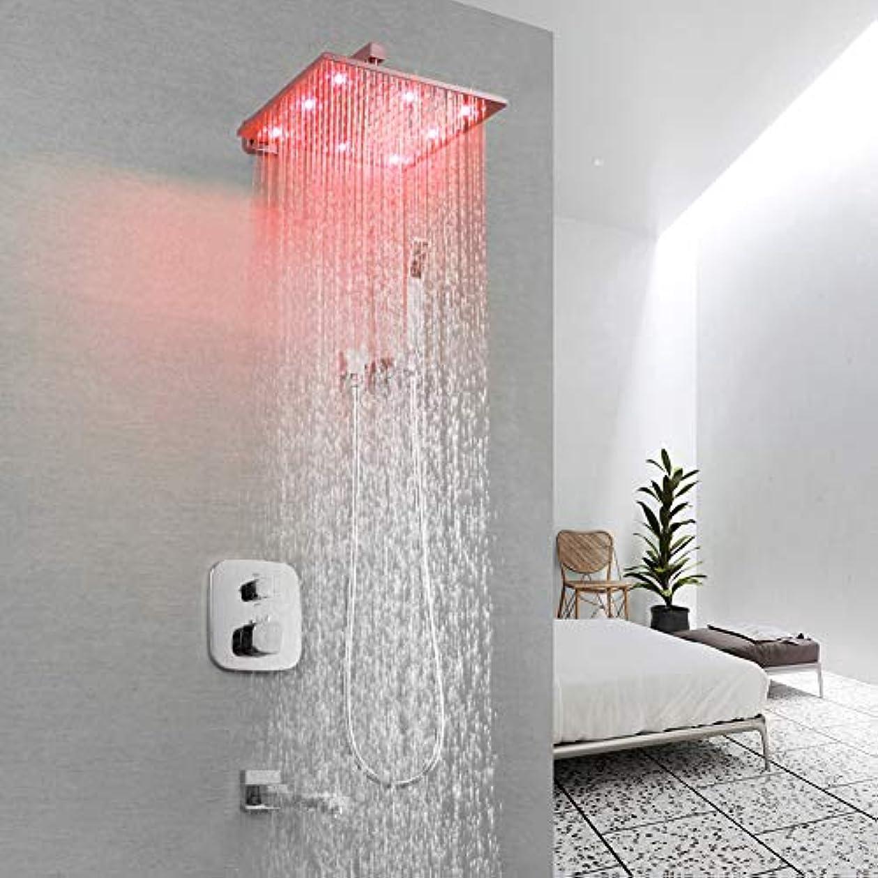 エンターテインメント選ぶ受け入れたLEDシャワーシステム、浴室シャワー蛇口、またはブラシ付きLEDレインシャワーシステムセット組み込みボックスサーモスタットミキサーバルブコントロールシャワーヘッドウェイ (サイズ : 20x20cm)