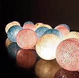 ボール型ライト イルミネーションライト Cotton Ball Light 20/セット 室内装飾 クリスマス パーティー ハンドメイド 古典的 ランプ  綿 コットン ボール 電球 ストリング ライト クリーム アズール ピンク