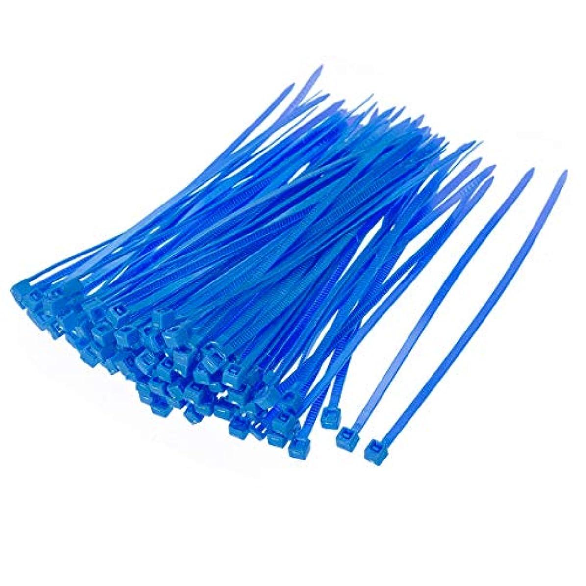 パパ羽ストロークuxcell ナイロンケーブルタイ 200mmセルフロックジップタイ 3.5幅 100個 ブルー 4 x 0.09インチ(L * W)