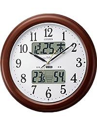 CITIZEN ( シチズン ) 電波 掛け時計 インフォームナビEX 温湿度計付き ・ 夜間自動点灯 木枠茶色 4FY620-006