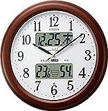 CITIZEN ( シチズン ) 電波 掛け時計 インフォームナビEX 高精度 温度 ・ 湿度 計付き 暗所 自動 点灯 木 茶 4FY620-006