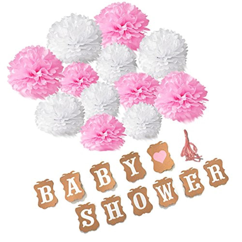 ベビーシャワーそれは、女の子のバナーセット、Recosis  BABY SHOWER  ハッピーバースデー紙ぶら下げバナーデコレーションフラグ、ベビーシャワーパーティーフォト小道具,ピンク