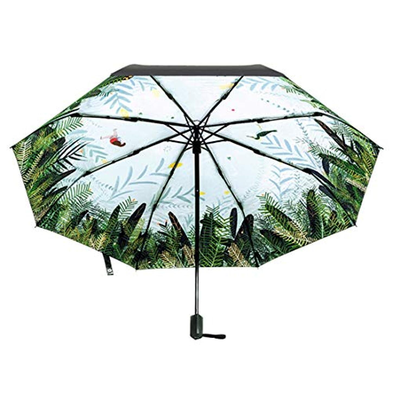 到着する宣伝しっかりHOHYLLYA 女性の日傘傘葉パターン黒表面屋外紫外線保護折りたたみ傘防水雨傘トートバッグ傘 sunshade (色 : オレンジ)