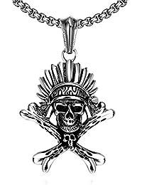 Rockyu ジュエリー ブランド マヤ アイティーク ブラック 燻し加工 ステンレス 人気 インディアン 酋長 メンズ ネックレス