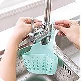 Hanging Storage Drain Basket Sink Organizer Rack Sponge Holder Kitchen and Bathroom Tools Gadget (Blue)