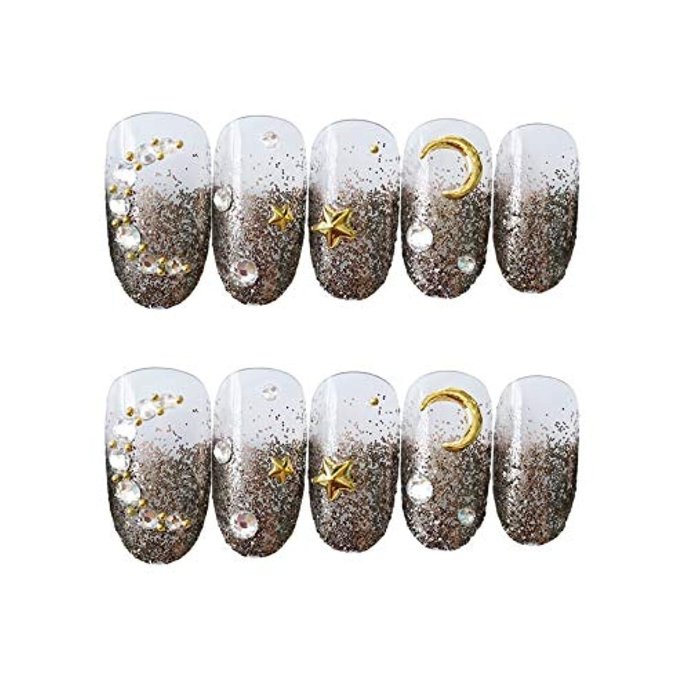 NANNAN ネイルチップ 3D ネイルチップ 綺麗な飾り付け 24枚入 原宿 和風 夢幻 和装 手作りネイルチップ 結婚式ネイルチップ