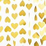 ペーパーガーランド ゴールド 金色 ハート 男の子 女の子 お誕生日 ウェディング パーティー 結婚式 クリスマス 吊り下げ 装飾 デコレーション 4本(1本/3m)