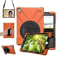 Ivintsy iPad Pro 9.7 ケース ショルダーケース スタンド機能 360度 回転 iPad Pro 9.7 カバー 肩掛け ハンドストラップ付き 三層構造 耐衝撃 iPad Pro 9.7 専用 ハイブリッド ケース 両用タッチペン付き オレンジ