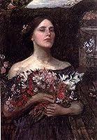 ¥5K-200k 手書き-キャンバスの油絵 - 美術大学の先生直筆 - 9 名画 - Gather ye rosebuds study JW ギリシャの female John William Waterhouse - 絵画 洋画 手描複製画 -06