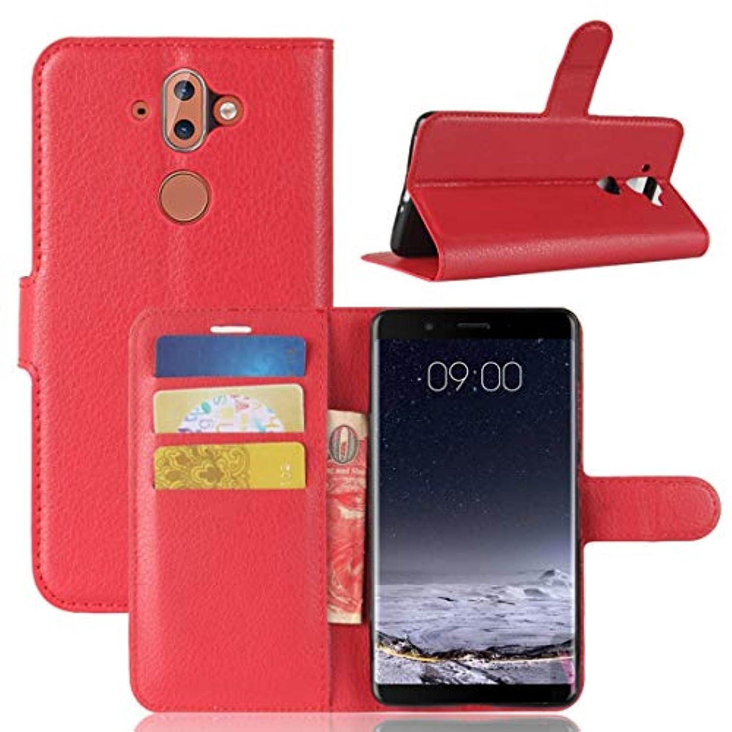 慣れるカニサッカーYMF Nokia 8 Sirocco レイシ·テクスチャのためのホルダー&カード·スロット&財布と水平フリップ·レザー·ケース (Color : Red)
