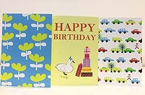 BLUEPAGE バースデーカード1枚+多目的カード2枚 グリーティングカード 3種類セット 封筒つき (黄色いチューリップ、コールダックの誕生日カード,クルマ)中無地