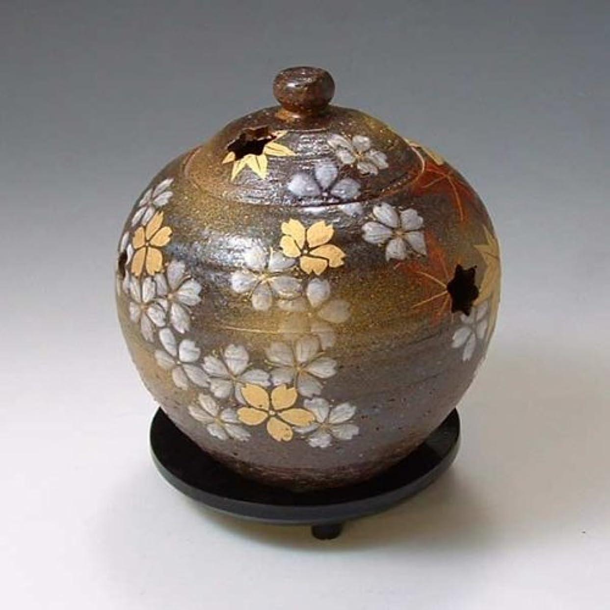 貫通立派な地中海京焼 清水焼 香炉(黒台付) 雅 みやび YTS160