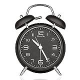 DreamSky(ドリームスカイ) 大音量 目覚まし時計 ベル 置き時計 アナログ 連続秒針 ナイトライト付 クオーツ アラームクロック(ブラック)
