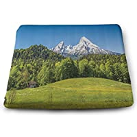 アルプスとベルヒテスガーデンの村とワッツマン山脈 スクエアロースクワットシートクッション/フリースタイプ(体圧分散効果/やわらかさ/滑り止め加工)クッション枕