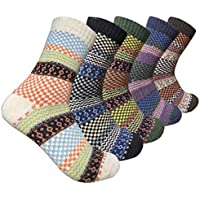 Womens Warm Wool Crew Socks Thermal Thick Merino Wool Casual Winter Boots Socks Pack of 5 Size 6-11