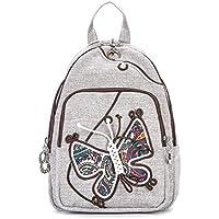 CXQ エスニックスタイルの女性の胸のバックパックのキャンバスのバックパック手織りの蝶のバックパックの旅行のバックパック