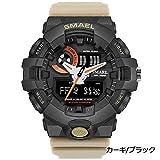 1stモール SMAEL ミリタリー アナデジ 腕時計 メンズ 男性 クロノグラフ 多機能 スポーツ ウォッチ (カーキ ブラック) ST-SME41-KABK