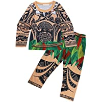FEESHOW 2 Pcs Maui Toddler Little Boys Cartoon Printed Loose Pajamas Set Top Pants / Shorts Sleepwear