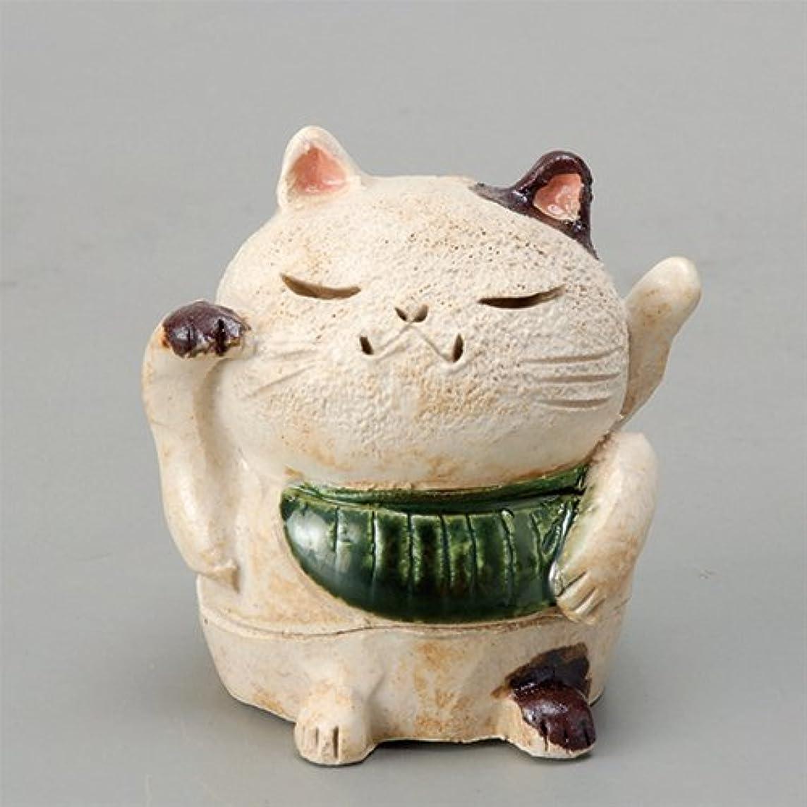 不完全な便宜万歳香炉 白萩 招き猫(お金)香炉(小) [H8cm] HANDMADE プレゼント ギフト 和食器 かわいい インテリア