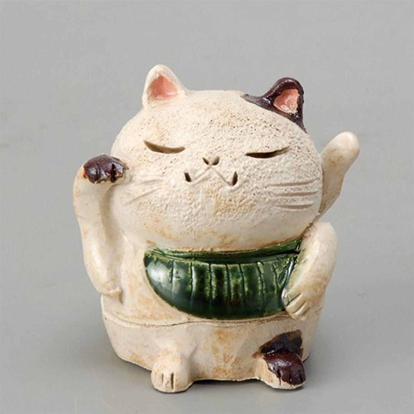 アクティビティ策定する嫉妬香炉 白萩 招き猫(お金)香炉(小) [H8cm] HANDMADE プレゼント ギフト 和食器 かわいい インテリア